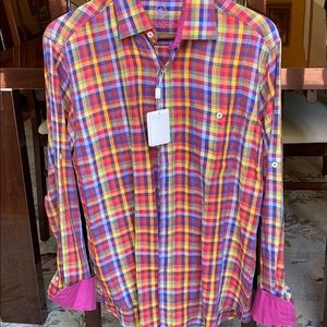 Bugatchi men's fuchsia designer shirt small new